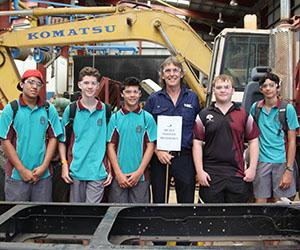 High school students learn VET skills at Try'a Skill NT on Casuarina campus. From left: O'Loughlin Catholic College students, Bodeen Wilson, Anthony Hill and Sean Ruger; CDU Heavy Vehicle Trainer Dan Thomas; Taminmin College student Rowan Poscado; O'Loughlin Catholic College student Lachlan Matthews