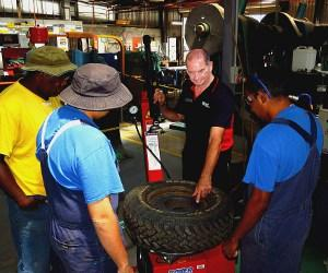 Automotive lecturer Robert Tucker delivers the tyre technology course at Alice Springs Corrections Centre.