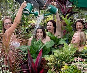 From left –Gemma Watkins, Claire Webb, Tania Paul, Michelle Lewis and Lisa Hicks enjoy a spot of gardening