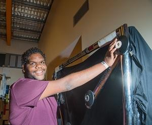 Kade Green, 19, from Tennant Creek, finds out about exercise and sports science courses at CDU