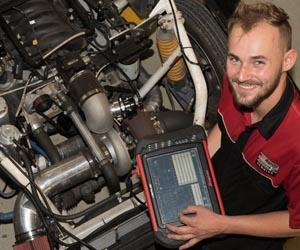 Zach Davis has worked on cars for Red Bull Holden Racing team during his apprenticeship. Photo: Julianne Osborne