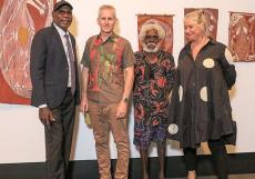 The renowned Arnhem Land artist John Mawurndjul AM at the exhibition. He has a career spanning 40 years.