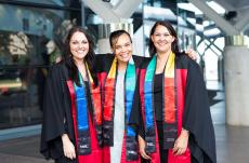 Diploma of Management graduates (from left) Jaclyn Carter, Tessa Cubillo and Cassandra Hazelbane have great cause for celebration