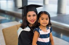 Master of Business Administration graduate Yvonne Grace Caloyon celebrates with daughter Graciella Venice Caloyon