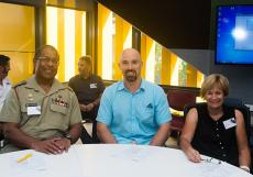 From left LT COL Samual Pickering,  Duncan Thomson, Professor Jenny Davis at the Engagement with China