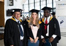 Law graduates from left: Dwarka Dass, Michelle Godwin and Gabriel Yengbie
