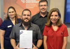 Australian Apprenticeships Support Network Assistant Manager Lee Frappe, Cummins apprentice (award winner) Thomas Mitchell, Service Manager Troy Hosking, Apprentice Program Manager Suzy Grdosic