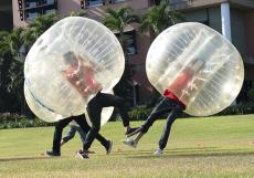 Students taking part in bubble sports at The Strand