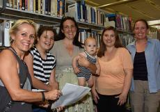 (From left) Education lecturer Dr Al Strangeways with Flora, Anna and Leo Swift (infant), Maali Kid and Kate Burbeck