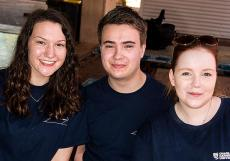 Exchange students Rose Frisk (USA), Christian Paynter and Becki Arnott Genevieve (both UK) settle in for a semester at Casuarina campus