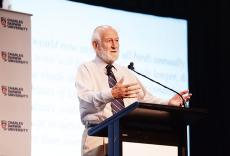 Charles Darwin Scholar Emeritus Professor Peter Grant speaks at the Charles Darwin Oration at Casuarina campus