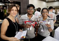 IT Code Fair judge Bahareh Jamali, Sai Vusirikapally and Harshitha Acha