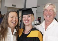 Nerida Osborne (mum), Mishka Oakes and Peter Oakes (dad)