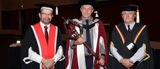 Vice-Chancellor Professor Simon Maddocks, mace bearer Dr Colin Watson and Acting Chancellor Richard Ryan AO at the graduation ceremony in Alice Springs