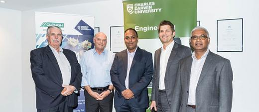 From left: Clough EPC Oil and Gas Australia Vice President Rob Hannan, CDU Deputy Vice-Chancellor Research and Research Training Professor Lawrence Cram, CDU Maintenance Engineering Professor Sureshkumar Perinpanayagam, Clough Head of Business Development Christian Sputore and Clough Maintenance Manager Talak Mohammed