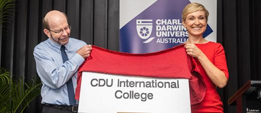 Vice-Chancellor Professor Simon Maddocks and UP Education CEO of University Partnerships, Ms Marnie Watson launch the CDU International College