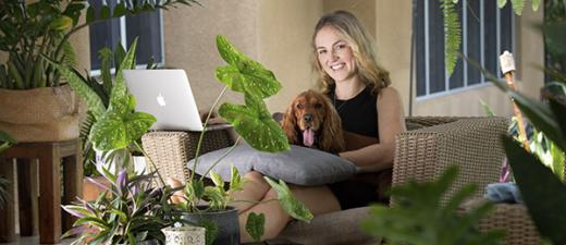 Tarryn Kelly and a furry friend get some screen time together Image: Julianne Osborne
