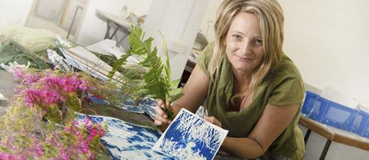 Student Emma Lupin displays some of her work from the Cyanotypes short course