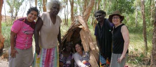 Women and researchers during the Caring for Mum on Country project, Galiwin'ku, Northern Territory. (L-R)-Yvette Roe, Dhurruŋurawuy, Ḻäwurrpa Maypilama, Sarah Ireland, Waŋgarr #2 and Sue Kildea. Image: Patrick Josse