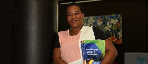 Master of Nursing student Marleen Manzini at Alice Springs campus library