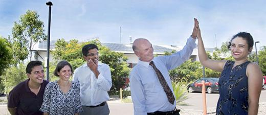 (From left) Researchers Dr Jeremy Trombley, Dr Kerstin Zander and Professor Suresh Thennadil celebrate with DVC Research and Research Training Professor Lawrence Cram and Minister for Environment and Natural Resources Ms Lauren Moss