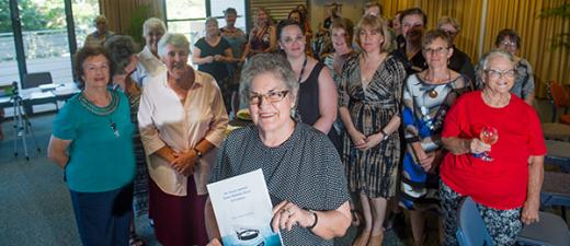 "CDU Nursing Museum Curator Janie Mason (centre) at the launch of her paper entitled ""An Anzac journey from Adelaide River to Lemnos"""