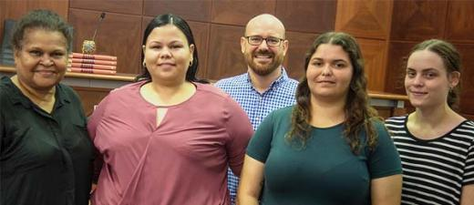 The law beckons: (from left) May Mooka, Erica Harvey, Law Lecturer Ben Grimes, Kacie Winsley and Tamara Espie at this year's Pre-Law Course