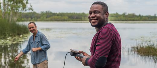 Environmental management students at Girraween Lagoon, from left: James Wyatt and Benjamin Aidoo