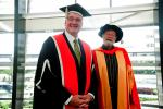 Vice Chancellor Professor Barney Glover with Jack Thomson who received an honorary doctorate CDU in 2012.