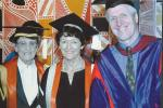 Graduation ceremony 2003,  Nan Giese, Helen Garnett and Charles Webb.