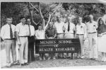 The Menzies School of Health Research, (mid-1980s) (Inaugural) Director John Matthews (2nd from left) Dr Ella Stack (4th from left) Dr Jim Eedle (5th from left).