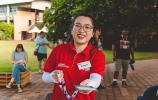 Student ambassador Rongxin helped welcome students to campus
