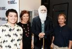 From left: Jake Christian and CDU professors Karen Gibb and Keith Christian meet a life-size Charles Darwin cut-out