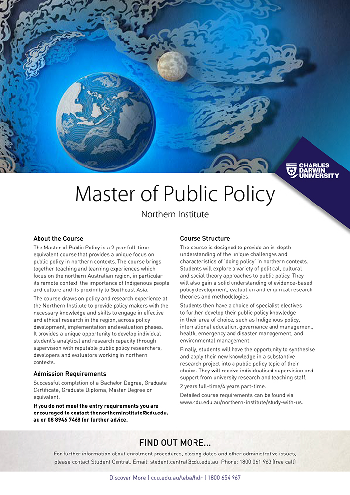 Master of Public Policy Northern Institute